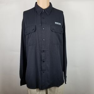 Harley Davision Mens Button Down Shirt Sz L Black
